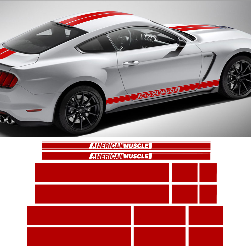 AMERICAN MUSCLE Side Door Stripes Front Rear Bumper Hood Roof Trunk Kit Graphic Decal Car Stickers