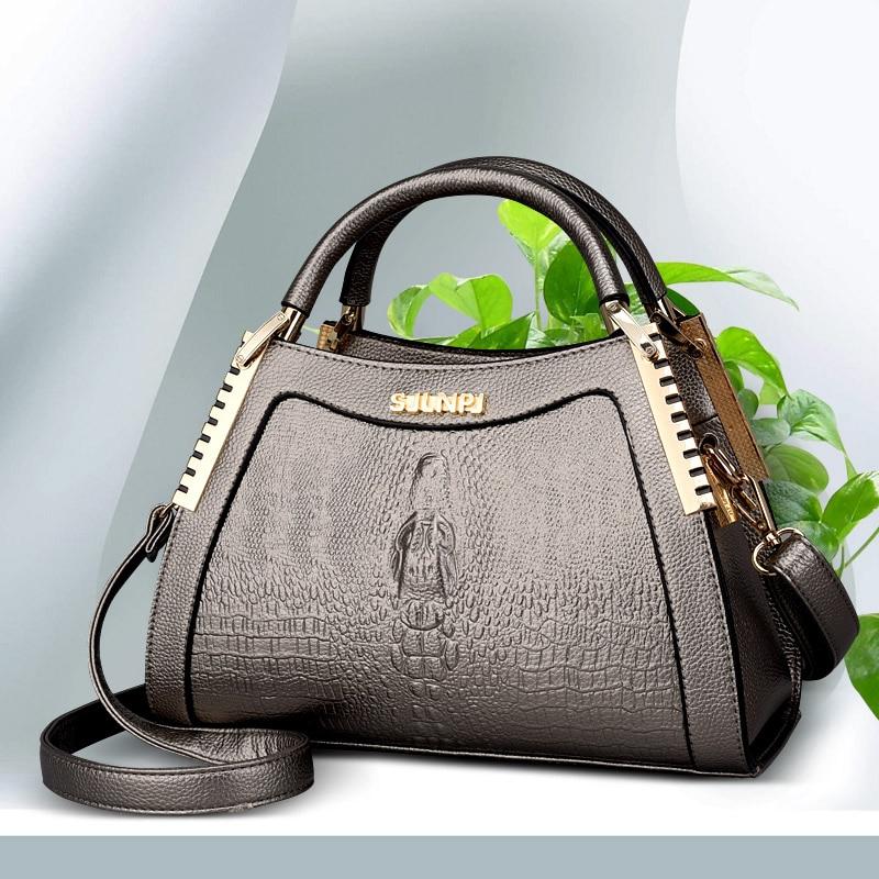 2018 Luxury Handbag Women Bag Printed Snake Crocodile Skin Bag Tote Designer Handbag Purse Female Crossbody Shoulder Bag Satchel beaumais mini chain bag handbag women famous brand luxury handbag women bag designer crossbody bag for women purse bolsas df0232