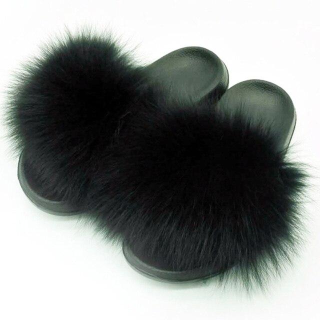 Women Summer Real Fox Fur Slides Women Non-slip Fluffy Fur Slippers Women Furry Slippers Ladies Cute Plush Fox Hair Slippers Hot 4