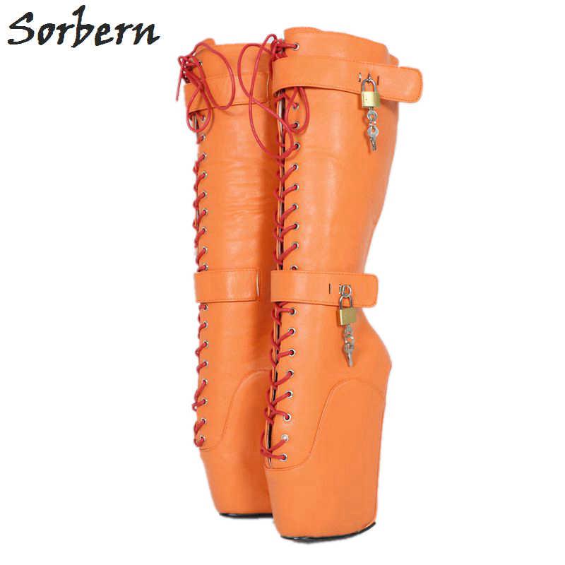 Sorbern Beginner Quan Hoof Heelless Mid Calf Boots Women
