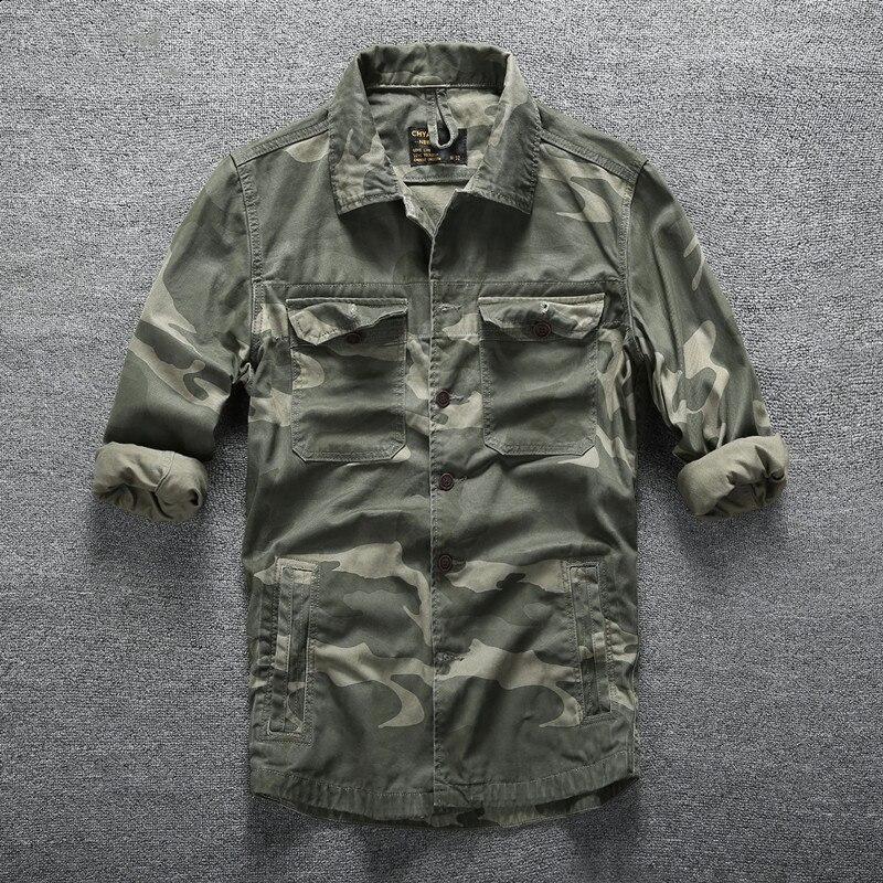 Hommes en plein air randonnée escalade Sports militaires chemises printemps automne coton Camouflage à manches longues respirant tactique Cargo chemise - 3
