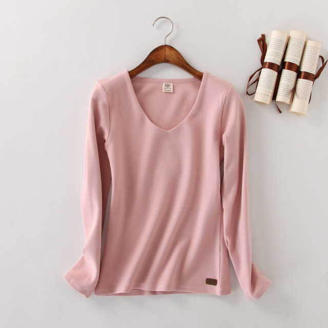 Autumn Winter New Long Sleeved Plus Size Women Solod Cotton Harajuku T Shirt Women Blusa Tops Pink Blusas Femininas 2016