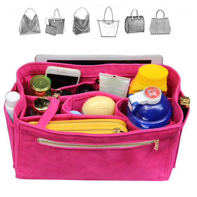 Customizable Velvet Bag Organizer Tote Purse Insert Cosmetic Makeup Diaper Belongings Multi Pocket