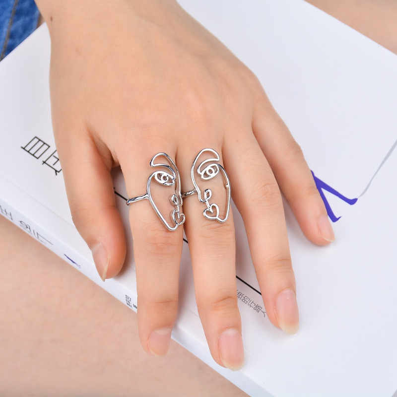 AE-CANFLY Hot Human Face Rings For Women Simple Metal bagues femme Cute  Lady Wedding Ring Jewelry 2pcs/set RJ012