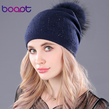 [boapt] real raccoon fur pompon thick wool knitted folds caps winter warm hats for women rhinestone skullies beanies female hat
