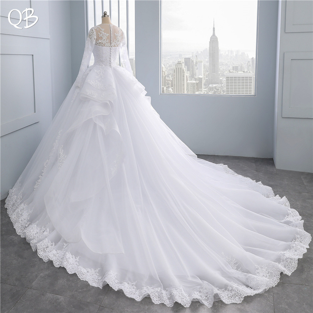 China Long Sleeves Wedding Dress Custom Made Lace Princess: 100% Real Photo Princess Long Sleeve Big Train Tulle Lace