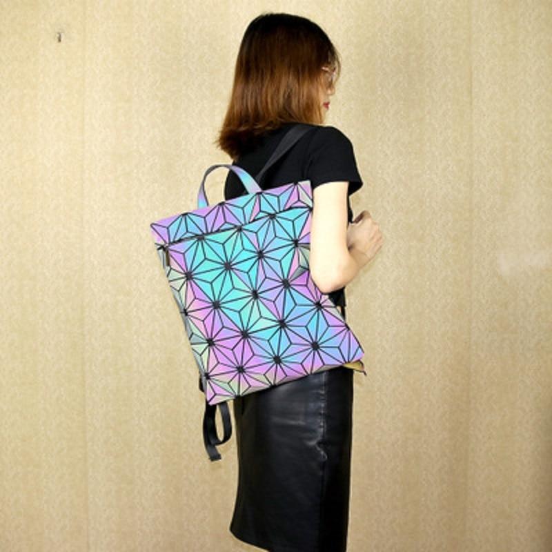 Drawstring Backpack QUILTED-SHOULDER-BAG Geometric Matt-Surface Luminous Teenage-Girl