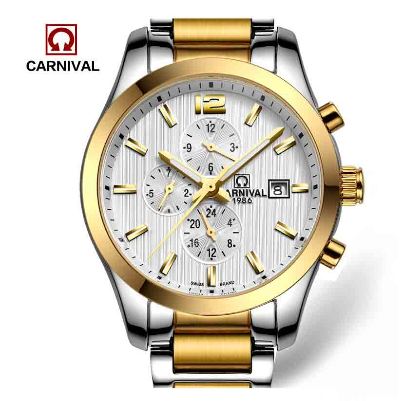 Carnival Watches Automatic Mechanical Watch Gold-Plated and Stainless Steel Two-Tone Male Watch Sports Dive Watches Four colors
