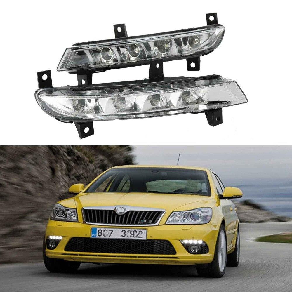 Car LED Light For Skoda Octavia A5 A6 RS 2009 2010 2011 2012 2013 LED DRL Daytime Running Light 2009 2011 year golf 6 led daytime running light