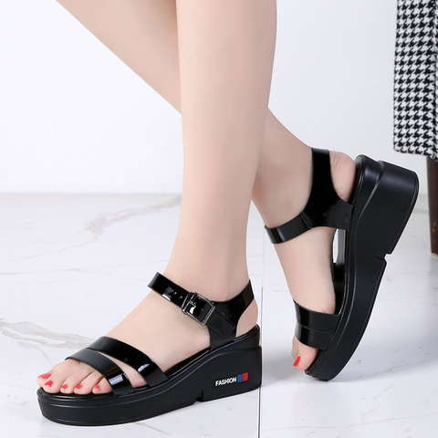 O16U NEW Summer women sandals platform wedges thick heel flat gladiator sandals ladies Shoes Patent PU Strap platform sandals Islamabad