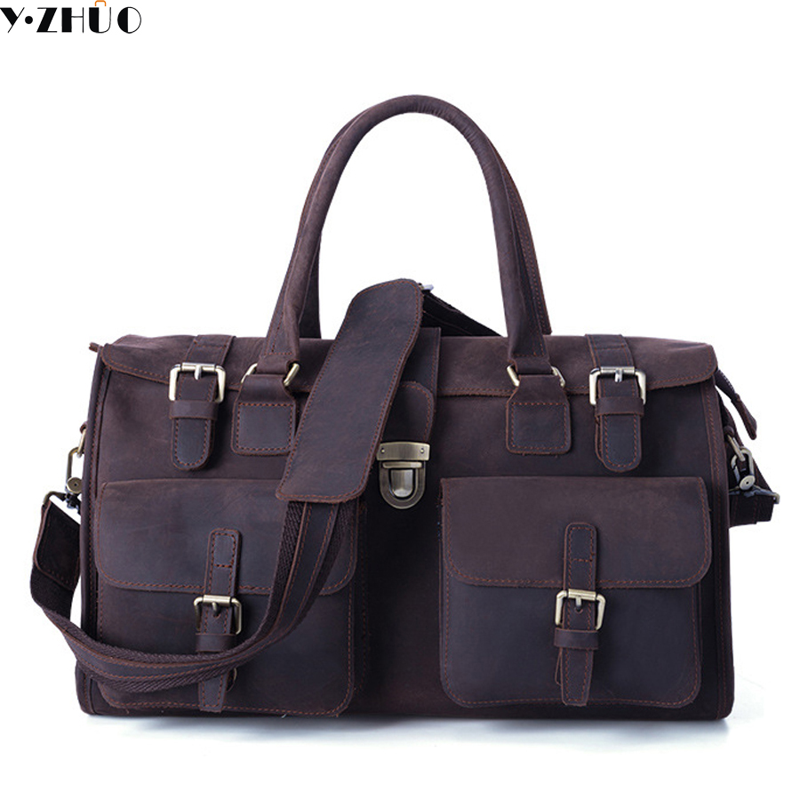 crazy horse genuine leather man bag high quality men travel luggage bags big shoulder duffel bag for male bolsa feminina men travel bags crazy horse cow skin real leather man bags fashion design men shoulder bags