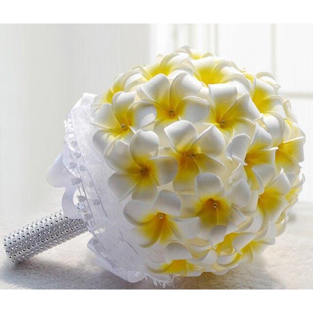 8pcs/lot DIY Wedding Frangipani Bouquet With Pearl Hand Held Flower ...