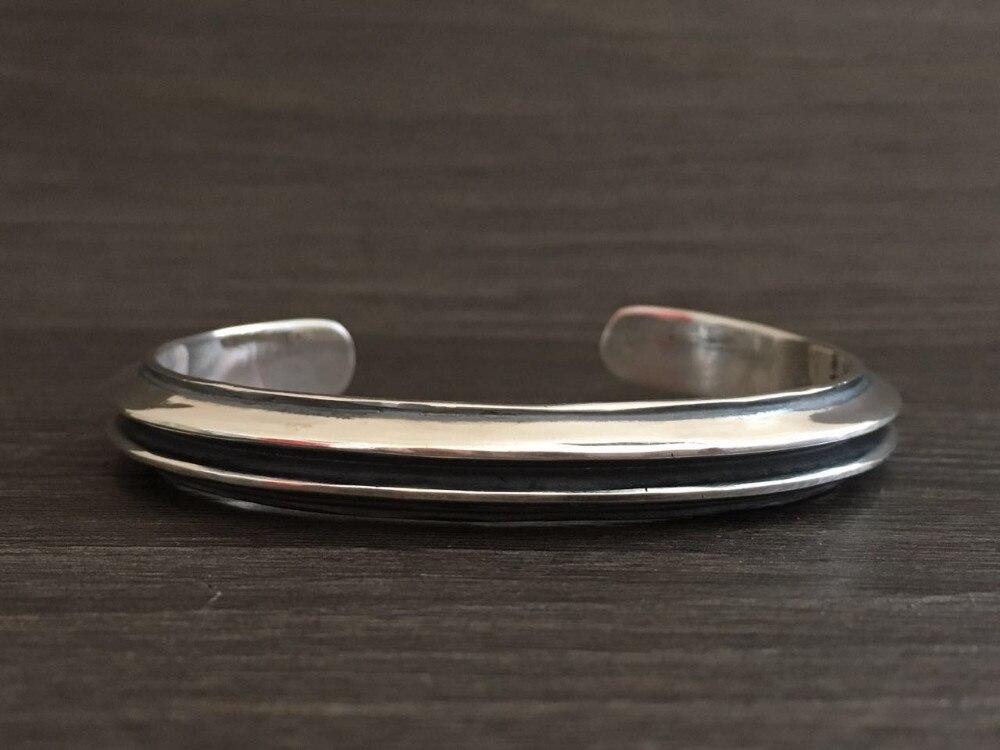 Moda superior plata 925 Simple brazalete brazaletes y pulsera hombres 100% sólida plata esterlina 925 Real para hombre joyería Vintage estilo indio - 3