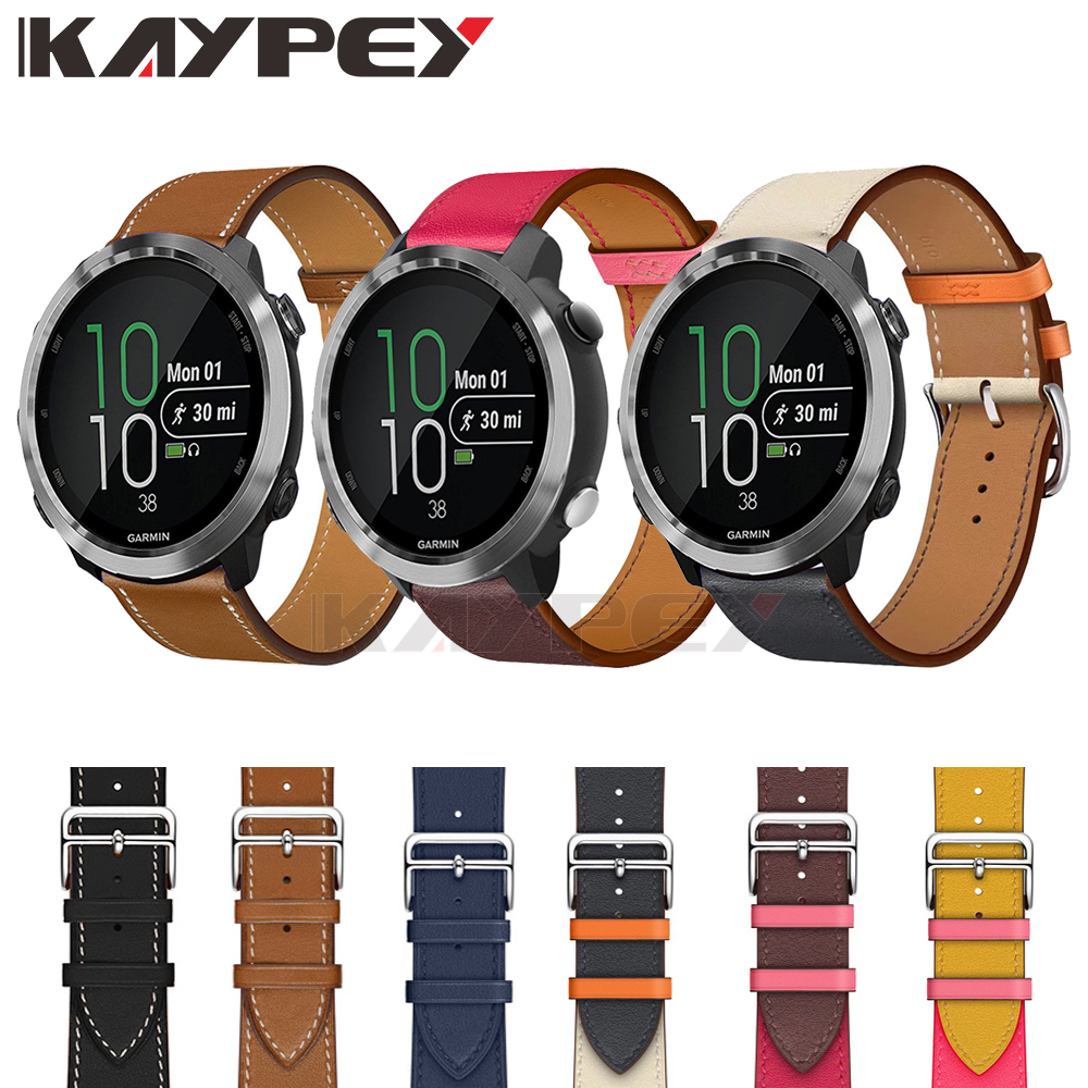 Fashion Leather Strap For Garmin Vivoactive3 3 Vivomove HR Smart Wristband Bracelet For Forerunner 645 Music Stripe Wrist Strap