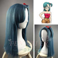 Tokyo Anime DragonBall Bulma cosplay peluca mujeres Buruma pelo recto azul con cola de caballo envío gratis