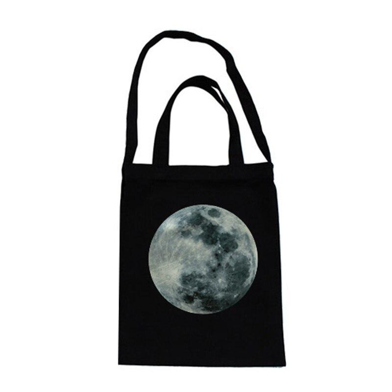 스타 인쇄 캔버스 단일 휴대용 어깨 가방 간단한 재사용 쇼핑 목화 핸드백