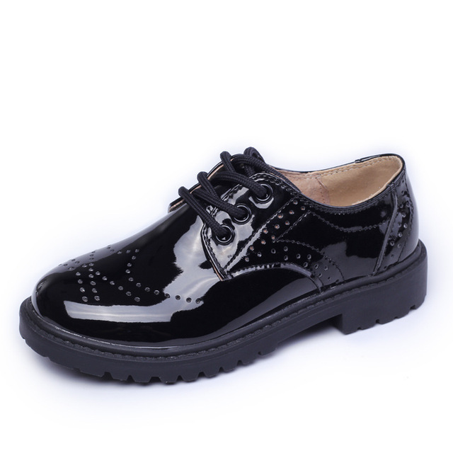 patent Real Leather Shoes Children Shoes Kids Flats For Boys Casual Walking Leisure Wedding Party Formal Brogue Fashion Sneakers