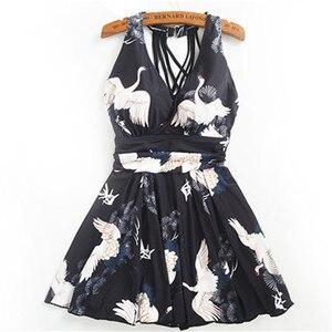 Image 5 - Women One Piece Swimsuit Solid Push Up Skirt Swimming Bathing Suit Padded Lace Up Ruffle Swimdress Slim Black Ladies Swimwear