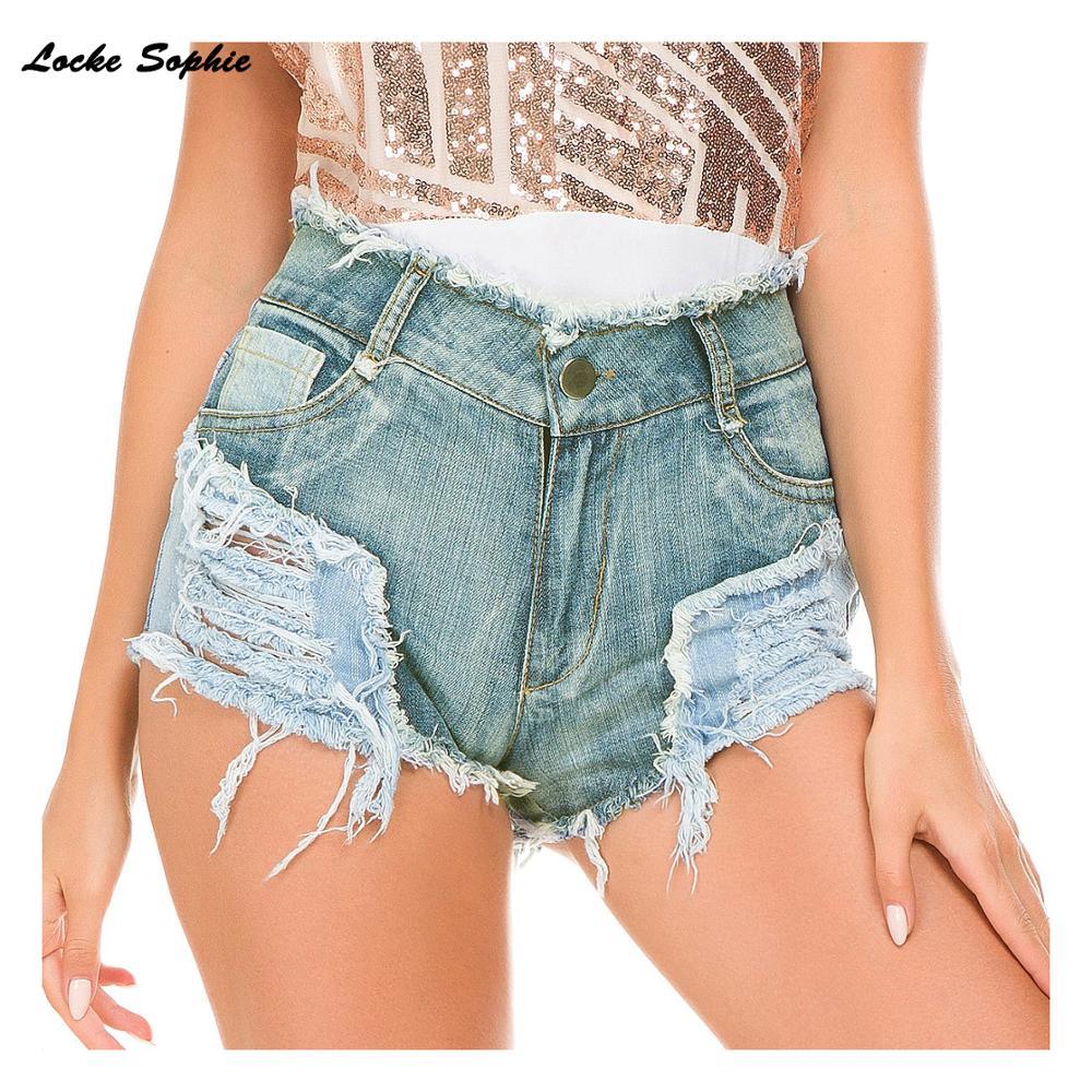 1pcs High Waist Sexy Women's Jeans Denim Shorts 2019 Summer Denim Cotton Splicing Broken Hole Shorts Ladies Skinny Short Jeans