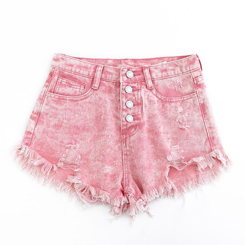 New Hot Sexy High Waist Bodycon Denim Pink Ripped  Hole Short Jeans Mini Club DJ Dance Shorts Plus Size S M L XL