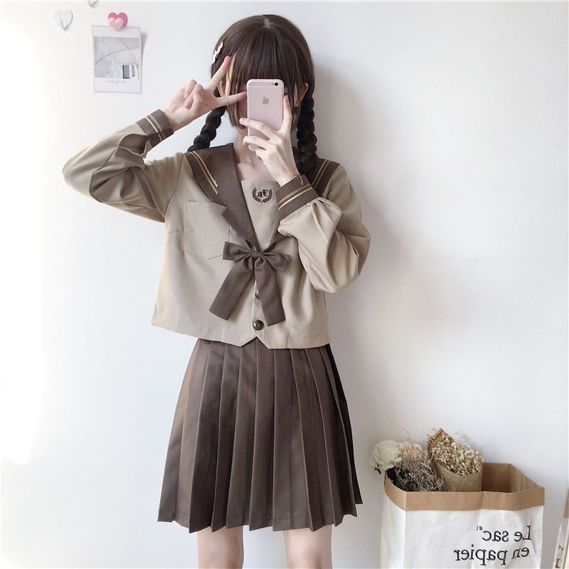 UPHYD New Autumn Japanese School Uniforms For Girls Cute Long-length Sailor Tops+Pleated Skirt+Tie Full Sets Cosplay JK Costume