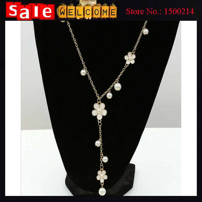 8a103300ae60 Long Golden Tassel Enamel Paint Flower Imitation Pearl Necklace ...