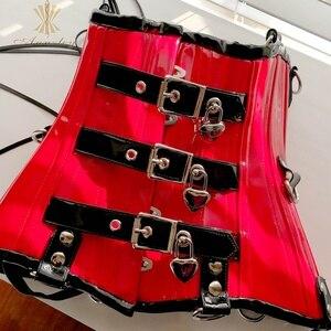 Image 4 - Annzley Cupless コルセット赤革コルセットアンダーバスト女性のウエスト痩身