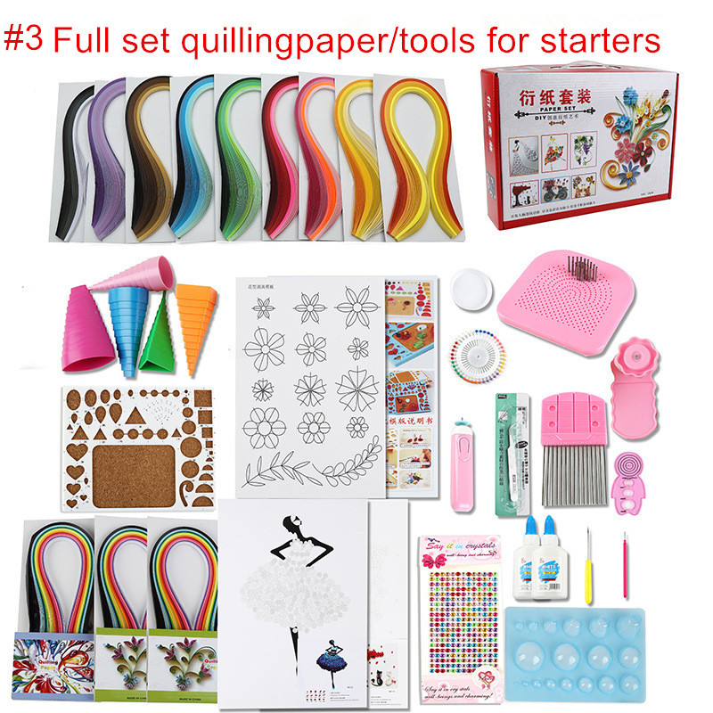 Full set starter scrapbooking quilling paper tool kit climper border tower rolling pen needle tweezer ruler