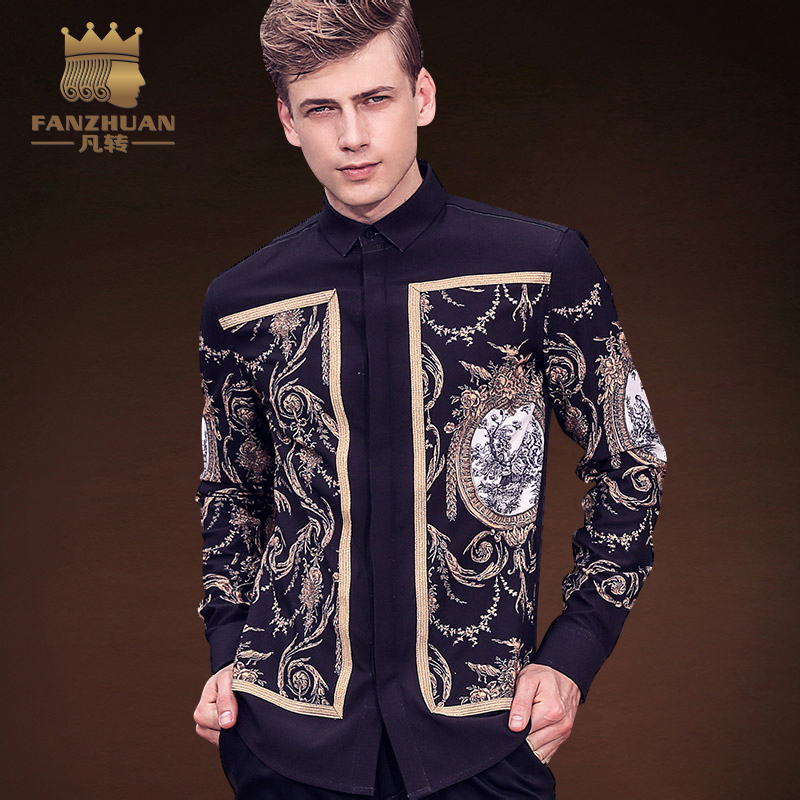 FANZHUAN Featured Brands Clothing High Quality Men's Shirt Long Sleeve Fashion Vintage Pattern Printed Shirt Asian Size M-5XL