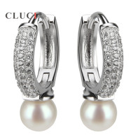 CLUCI High Quality Sterling Silver 925 Ladies Round Hoop Earrings Paved With Cubic Zirconia For Wedding