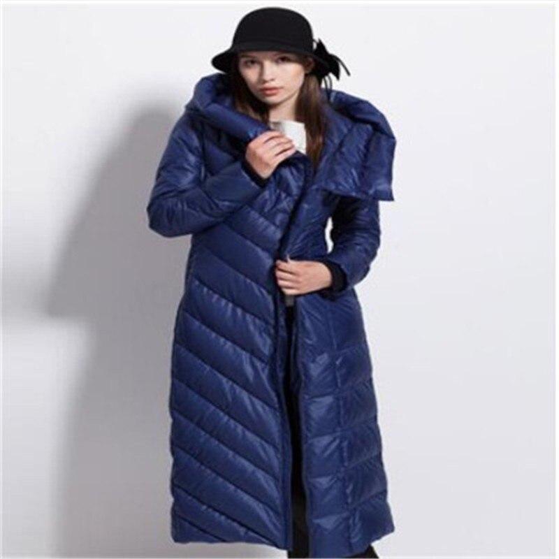 2018 nouveau femmes d'hiver manteau chapeau épais grande taille noir foncé bleu femelle vers le bas vestes