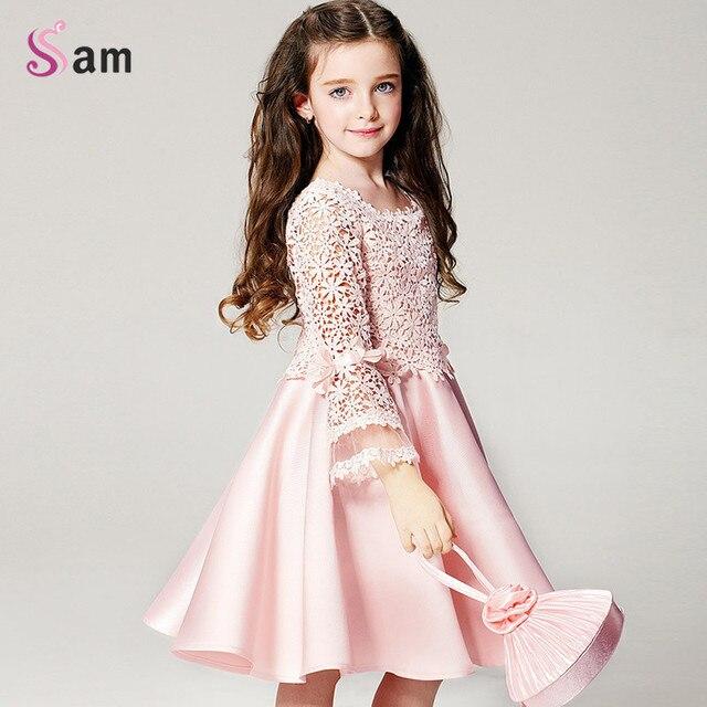2016 летний новый способа высокого качества девушки цветка платье принцессы кружева с длинным рукавом шею детская одежда бесплатная доставка