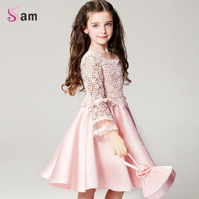 2016 verão nova moda de alta qualidade princesa da menina de flor vestido de renda manga longa em torno do pescoço crianças roupas frete grátis