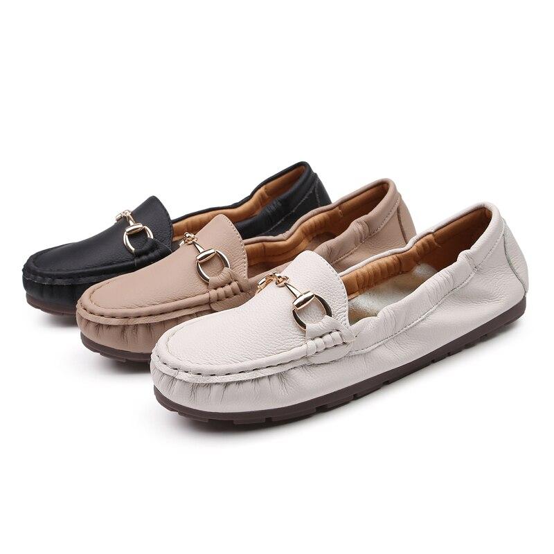 2019 Chaussures femme métal sur cuir fermoir Chaussures plates bouche peu profonde semelle souple femmes Chaussures décontractées Mujer Chaussures