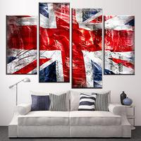 4 Pcs/Set Still Live British Flag Wall Art Picture Modern Combined Union Jack Wall Art Prints on Canvas for Office Decor