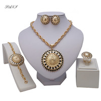 Fashion Dubai Gold-color Jewelry Set Nigerian Wedding African Beads Earrings Necklace Set Gold C for lady party