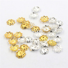 1000pcs Gold Silver 10mm Hollow Flower Loose bead Spacer Bead Caps For Jewelry Making DIY Finding Accessories Wholesale Supply цена 2017