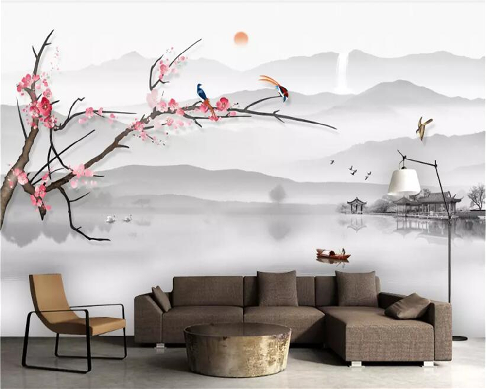Art Decoration Conception Us 9 3 38 Off Beibehang Custom Size New Chinese Artistic Conception Ink Landscape Ink Plum Blossom Marble Background Wall Decorative Painting In