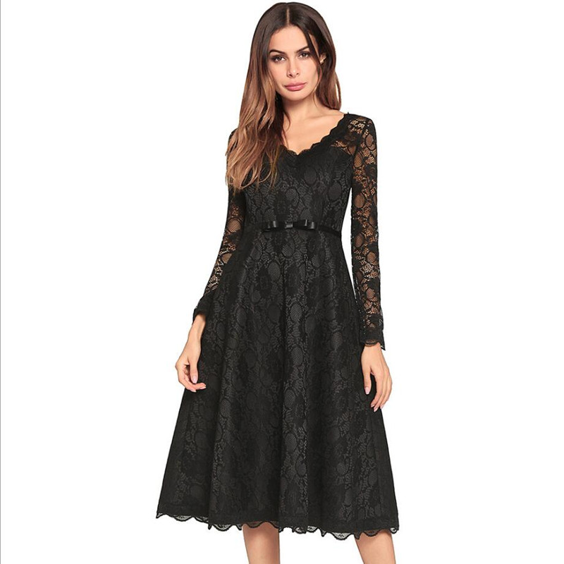 New spring and summer bow V-neck high waist cutout dress vestido Black White long sleeve lace desses S M L XL 2XL