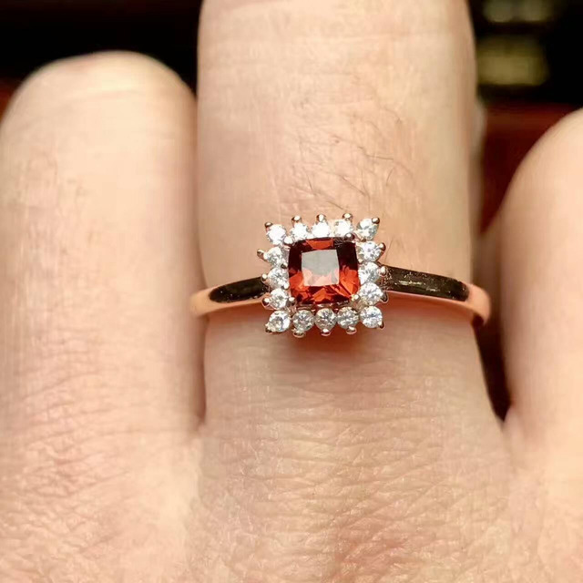 e83c5b2ef5be5 US $25.8 14% OFF|Natural red garnet stone Natural gemstone Ring 925  sterling silver Elegant Simple compact square women's gril party Jewelry-in  Rings ...