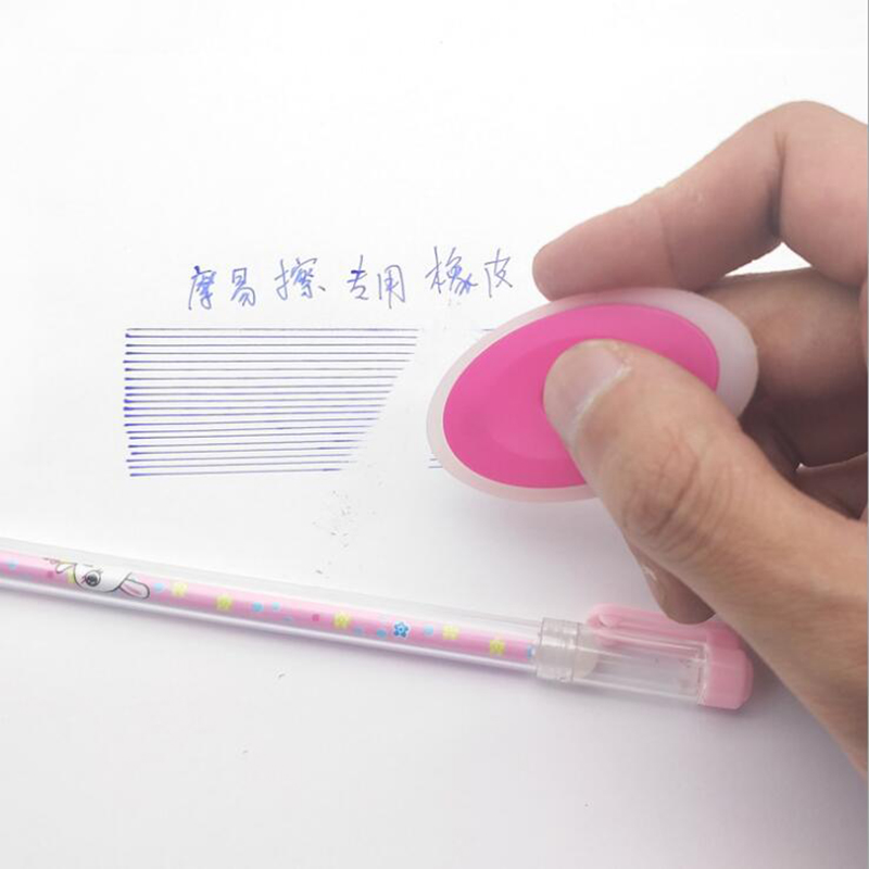 2pc Neutral Erasable Pen Special Rubber Cute Cartoon Oval Eraser Children Students Stationery Gifts School Office Supplies