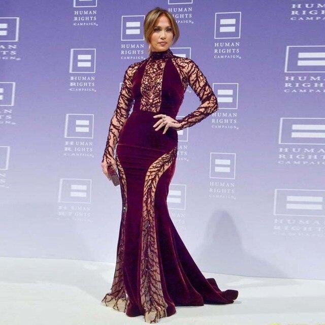Veludo De luxo Jennifer Lopez Celebrity Dresses Borgonha Cor Mermaid Prom Vestidos de Cristal Baded Completa Mangas Vestido de Noite Sexy