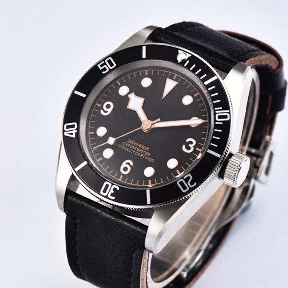 Mode Mannen Horloge Waterdicht Automatische Mechanische Klok 41mm sapphire crystal luxe top merk steriele wijzerplaat Horloge-in Mechanische Horloges van Horloges op  Groep 1