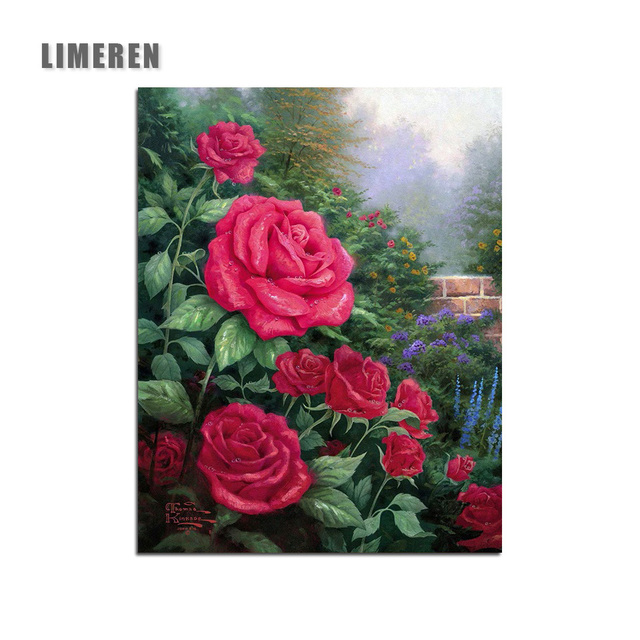 Diy Oil Painting By Numbers Modern Acrylic Paint Flower Red Rose Decorative Canvas Coloring Number For Unique Gift