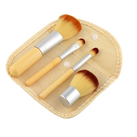 2016 Hot Sale 4Pcs Natural Bamboo Handle Makeup Brushes Set Cosmetics Elaborate Powder Eyebrow Blush Tools