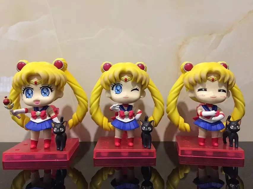 Anime Sailor Moon Tsukino Usagi Q Version PVC Action Figure Collectible Model Doll Anime Figure Brinquedos 3pcs/set xerox workcentre 6605n