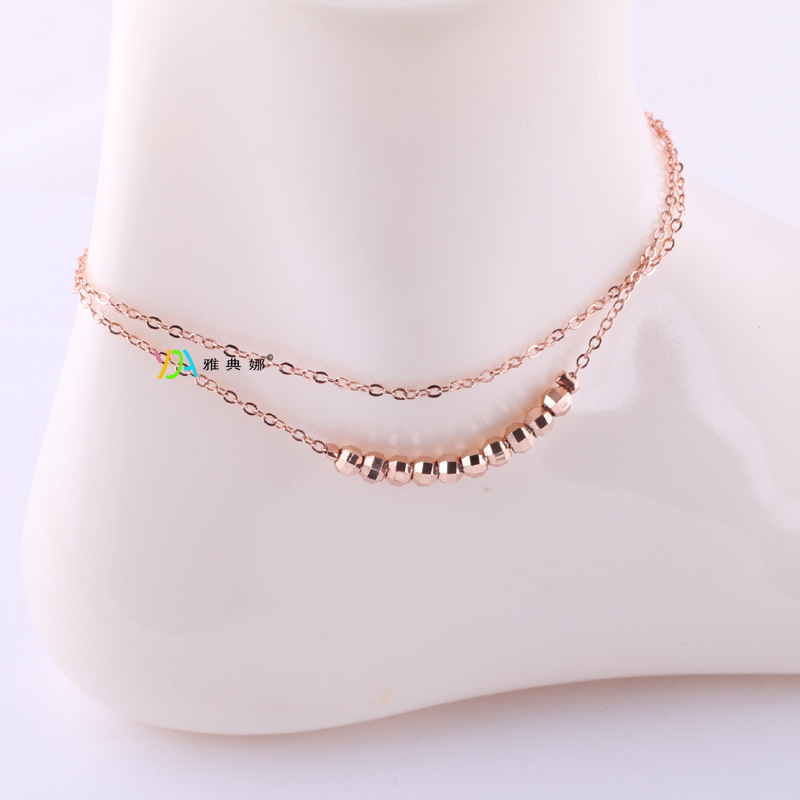 Rose Gold Beads Summer Style Chain Ankle Bracelet Anklet CA010