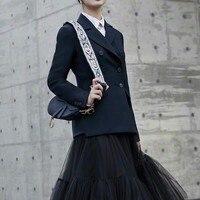 EXCOSMIC Женская Мода офисная дорожка Блейзер длинный рукав двубортный пиджак Дизайнер элегантный Блейзер Femme Ete