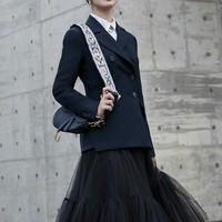 EXCOSMIC Women's Fashion Office Runway Blazer Long Sleeve Double Breasted Jacket Designer Elegant Blazer Femme Ete