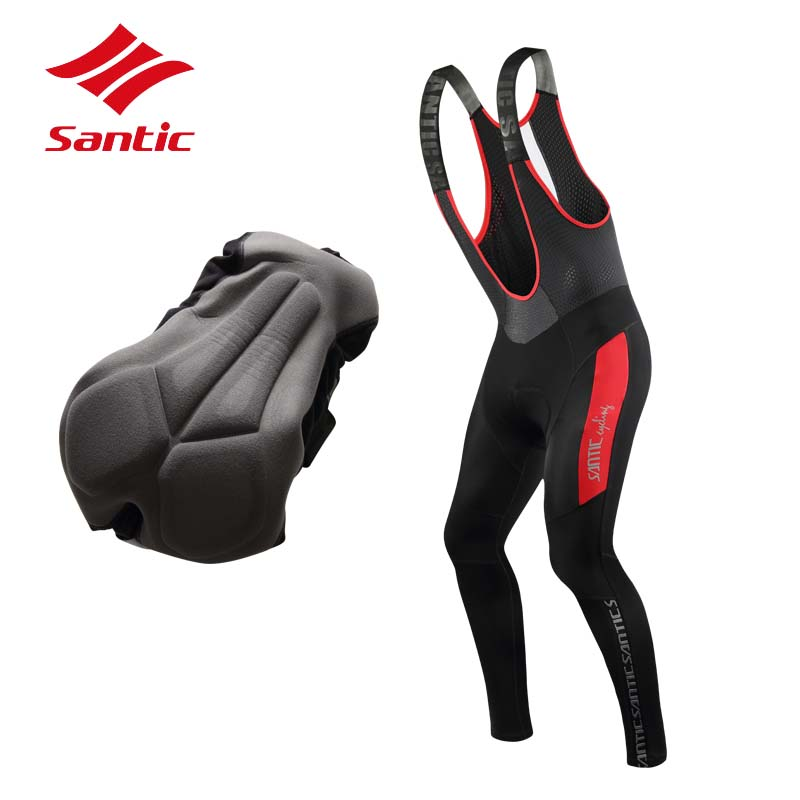 Santic Winter Cycling Jersey Men Warm Thermal Fleece Bike Bicycle Skinsuit MTB Road Gel Pad Cycling Clothing Ciclismo santic winter men cycling jersey with hooded fleece blue warm cycling clothing thermal mtb windproof cycling wear mc01054